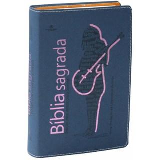 Livro - Bíblia Sagrada para Jovens - Capa Azul com Rosa - SBB