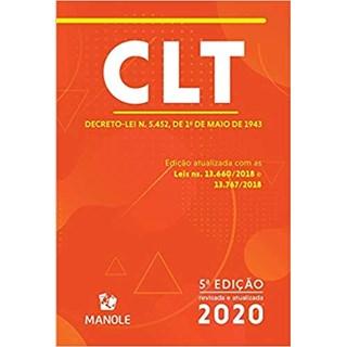 Livro - CLT - Decreto- Lei n. 5.452 de 1 de Maio de 1943 - Manole