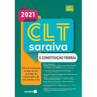 Livro - CLT Saraiva e Constituição Federal – 53.ª Edição - 2020 - Editora Saraiva 53º edição