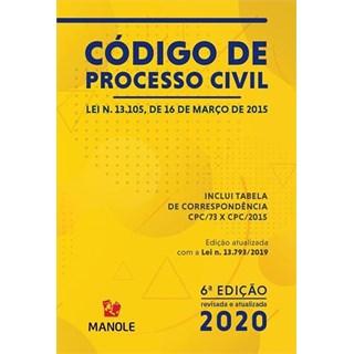 Livro - Código de Processo Civil - 2020 - Manole