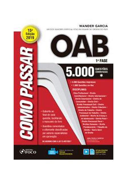 Livro - Como Passar na OAB - 1ª Fase - 5000 Questões Comentadas - Garcia