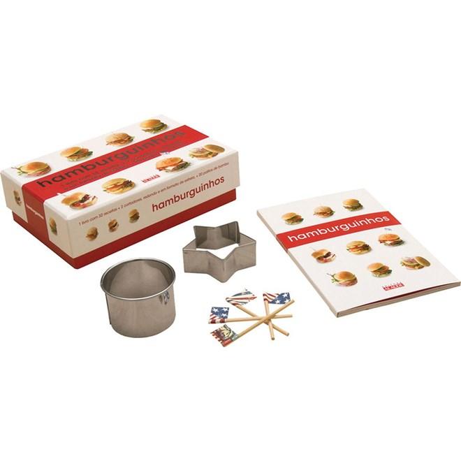 Livro - Hamburguinhos - 1 livro com 32 receitas + 2 cortadores, redondo e em formato de estrela, + 20 palitos de bambu
