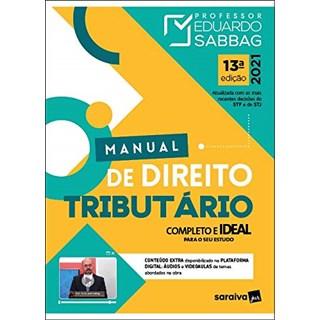 Livro Manual De Direito Tributário 13ª Ed. 2021 - Sabbag - Saraiva