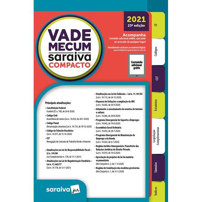 Livro Vade Mecum Compacto 2021 - Saraiva
